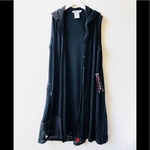🍀 Dzhavael Couture Black asymmetric cardigan hood
